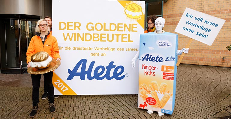 Foodwatch-Aktion bei Alete.